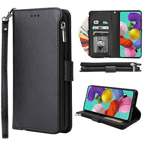 Nadoli Reißverschluss Ledertasche für Samsung Galaxy A70,Ultra Dünn Brieftasche Hülle mit Kartenfächer Abteil Magnetverschluss Standfunktion Flip Schutzhülle