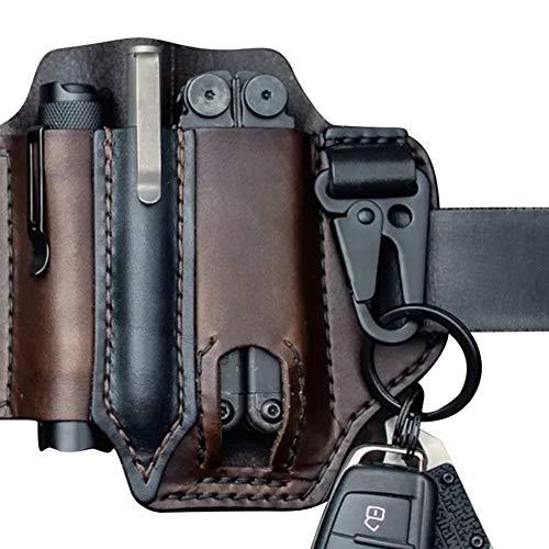Rongchuang EDC Ledertasche, Messer-Organizer-Tasche EDC-Träger mit Stiftschlaufen-Schlüsselhalter für Gürtel Und Taschenlampenscheide Multitool-Tasche