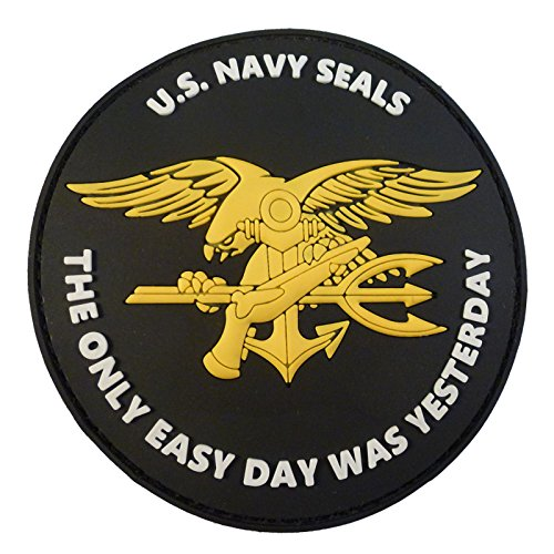 2AFTER1 US Navy Seals The Only Easy Day was Yesterday DEVGRU NSWDG Morale PVC 3D Touch Fastener Patch