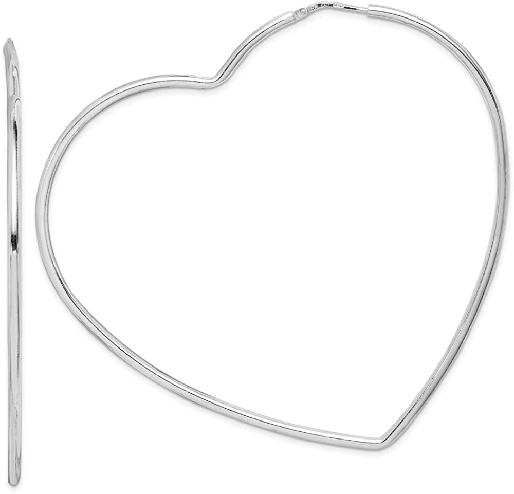 Sterling Silver Max 61% OFF OFFicial mail order Rhodium-Plated Earrings Hoop Heart