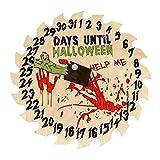 Halloween Down Sign Front Door Round Wooden Sign - Halloween 31 Days Countdown, Halloween Party Ornaments Home Garden Yard Farmhouse Porch Decoration Pendant, Clock Style