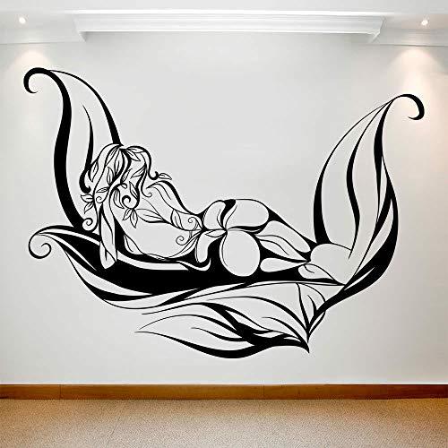 HGFDHG Hermosa Chica calcomanía de Pared Hoja Arte Corporal Abstracto Vinilo Etiqueta de la Ventana SPA salón Centro de masajes Dormitorio decoración de Interiores Mural