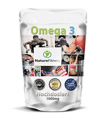 OMEGA 3 Fischöl Kapseln 1000mg Hochdosiert I Sparpakung mit 500 Stück I OMEGA 3 Kapseln aus Großbritannien I FISCHÖL 18% EPA - 12% DHA