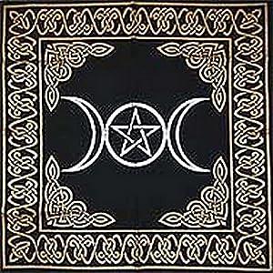 "Altar Tarot Cloth: Triple Goddess With Pentagram - 24"" x 24"" (Gold/Silver on Black Pentacle/Pentagram)"