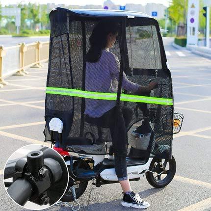 BGSFF Parasol eléctrico para motocicleta, toldo universal para coche, scooter, sombrilla para movilidad, sombra, lluvia, B- sin espejo