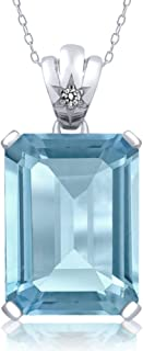 Sterling Silver Sky Blue Topaz and White Diamond Pendant Necklace 15.03 Cttw Emerald Cut With 18 Inch Silver Chain