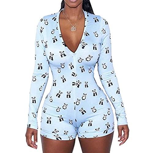 Sexig bodysuit för kvinnor långärmad djup V-hals bodycon smal trikå bodysuit kort pyjamas kvinnor nattkläder overall underkläder, M6, M