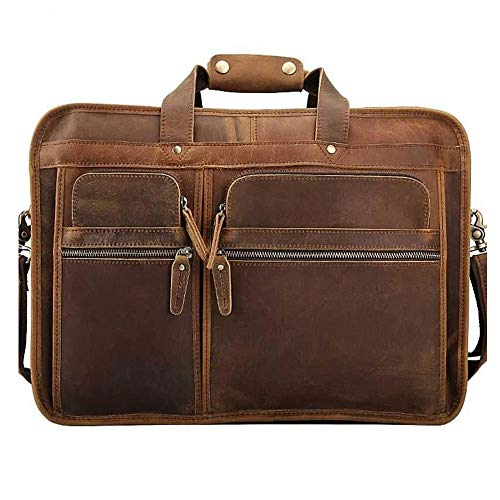 ZQY Heren 17 Inch Laptop Aktetas Volnerf Leer Moderne Messenger Bag Reistas Met Premium Zip B