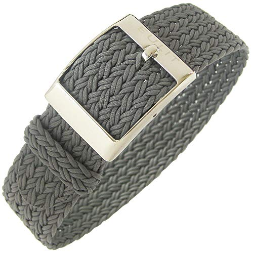 Eulit Palma Uhrenarmband, 20 mm, Grau, einteilig, gewebtes Nylon-Perlon