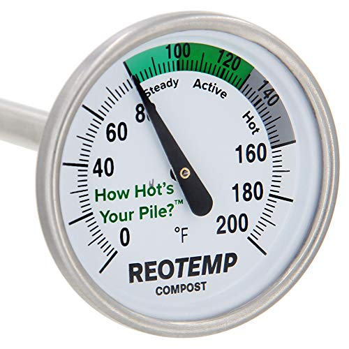 """REOTEMP Backyard Compost Thermometer - 20"""" Stem, with PDF Composting Guide (0-200 Fahrenheit)"""