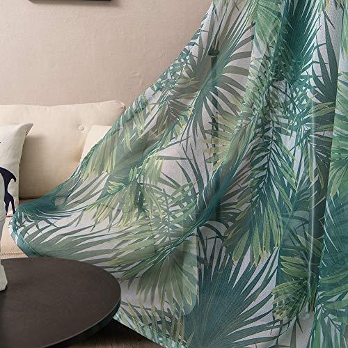 ZYY-Home curtain Tropical Hojas de Palma Cortinas Opacas con Ojales Impresión Cortinas 2 Paneles para Salón Dormitorio Comedor Habitación,Voile,W100xL250cm