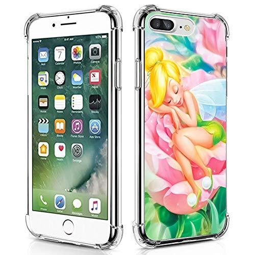DISNEY COLLECTION Coque pour iPhone 7/8 Plus Fée Clochette Dormant sur la Fleur Anti-chocs Anti-rayures Qualité Militaire Protection PC Rigide + TPU Souple Transparent