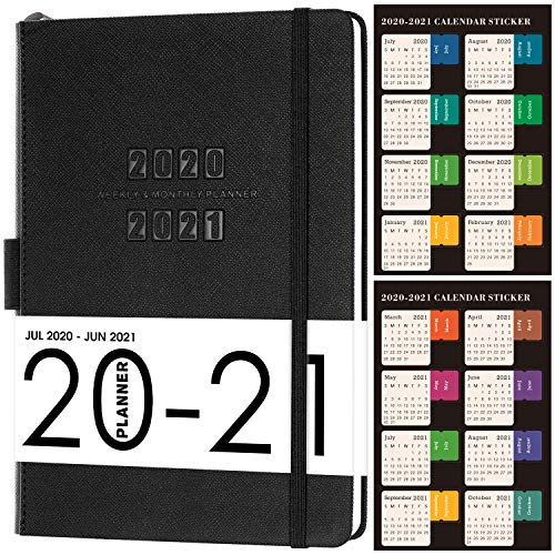 2020-2021 Planner-Academic Weekly and Monthly Planner, 5.75 'x 8.25', Thick Paper with Saffiano Leather, Back Pocket with 88 Notes Pages