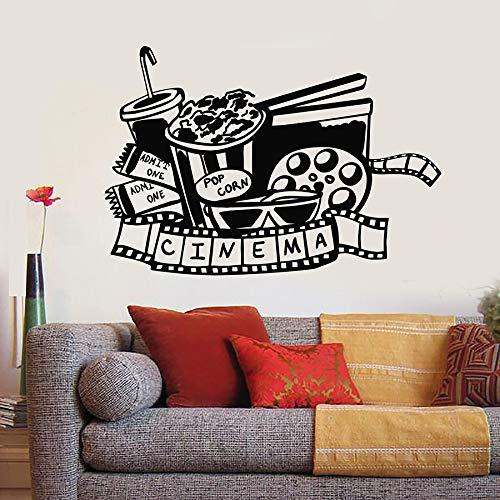 Etiqueta de la pared Cine TV Tira de película Cine Palomitas de maíz Vinilo Etiqueta de la ventana Mural Creativo Interior Arte decorativo Mural