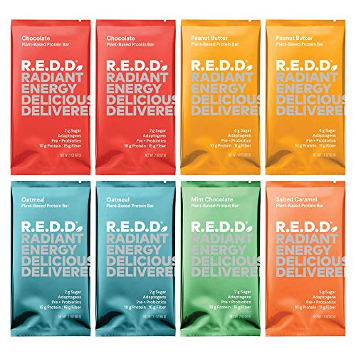 REDD Plant Based Protein Bar - 8 Bars - 2 Chocolate, 2 Oatmeal, 2 Peanut Butter, 1 Mint, 1 Salted Caramel - Gluten Free, Vegan, Low Sugar, High Fiber, Probiotics