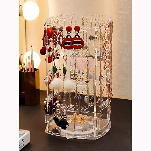 GFTDTM Soporte de anillo para pendientes, organizador giratorio de 360 ° 236 percha joyería collar estante de exhibición de la torre del perno prisionero