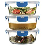 Superior Glass Meal-Prep Containers - 3-pack (35oz) Newly Innovated Hinged BPA-Free Locking Lids -...