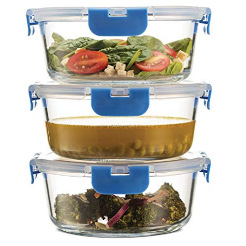 Superior Glass Meal-Prep Containers - 3-pack (35oz) Newly Innovated Hinged BPA-Free Locking Lids - 100% Leakproof Glass Food-Storage Containers, Great On-the-Go, Freezer-to-Oven Safe Lunch Containers