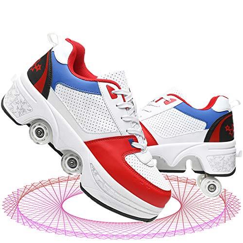 YUNWANG Doble Hilera Patines De Ruedas Retráctil Patinaje Deportes Recreación Al Aire Libre Zapatos Patada Rodillos Deformación Patines