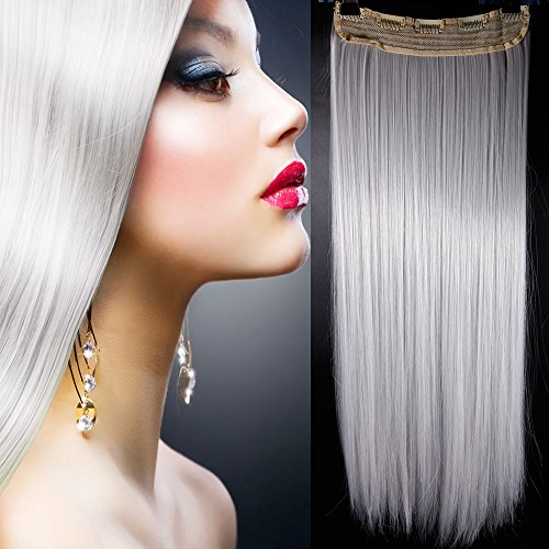 Clip in Hair Extension Grigio Argento Capelli Una Fascia Capelli Lunghi Lisci One Piece 3/4 Full Head Larga 25cm Lunga 65cm Vari Colori