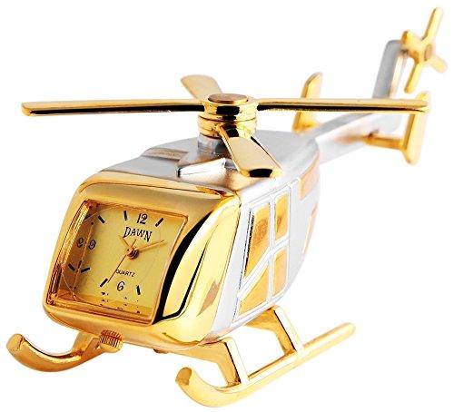 Dawn Analog Miniaturuhr Tischuhr Standuhr mit Quarzwerk und Motiv Hubschrauber 300414000074 Bicolor Gehäuse 9,0 cm