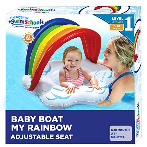 SwimSchool Rainbow Baby's First Pool Float, Splash & Play, Adjustable Safety Seat, Novelty Baby Boat, Rainbow Colors (AZB15109SH)