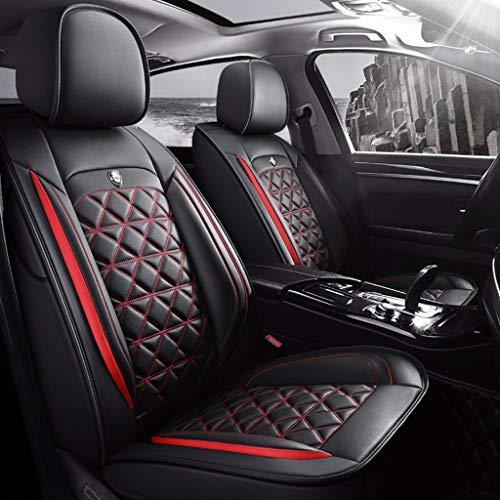 AutoSitzbezüge Leder, Vorne Hinten 5er-Set Universal Leder Seasons Pad Sitzschoner (Color : Black red)