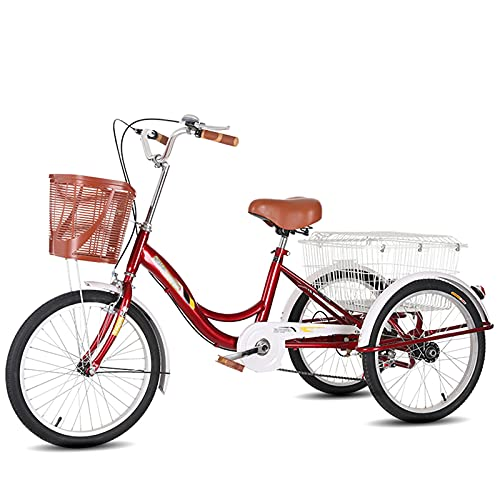 Triciclo para Adultos Bicicleta Bicicleta Adulta De 20 Pulgadas De Triciclo Adulto para Adultos con Cesta De Compras Tres Ruedas Crucero Bicicleta para Recreación, Compras(Color:Rojo)