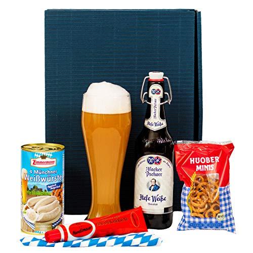 Geschenkset Augsburg | Bayern Geschenkkorb gefüllt mit Bier & bayrische Spezialitäten | Bayerisches Geschenk Set für Männer zu Vatertag & Geburtstag | Typisch deutscher Wurst Präsentkorb