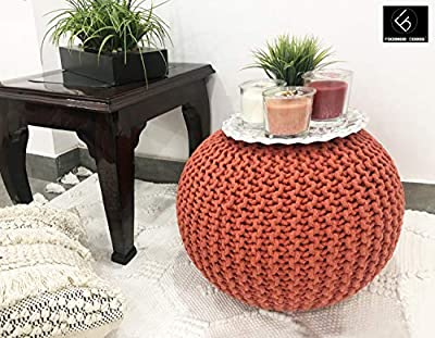 Frenish Décor Hand Knitted Cotton Ottoman Pouf Footrest 20x20x14 INCH, Living Room Accent seat (Rust)