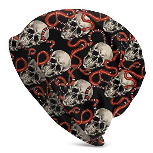 FETEAM Gorro Slouch Beanie, Transpirable, Ligero, Elástico, Suave Gorra de Calavera Serpiente Cráneo Rojo Negro