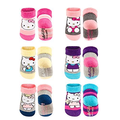 soxo 6 Paar Baumwolle Baby-Mädchen Socken Größe 16-18 | Süß Kleinkind Socken mit Katze HELLO KITTY | 0-12 Monaten | Bunte Socken Bequeme Baby-Socken | Baumwoll-socken