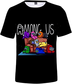 EMLAI Boys' T-Shirt Among Us Inspired 3D Printed Video Game Graphic Tee Shirt for Kids Teens