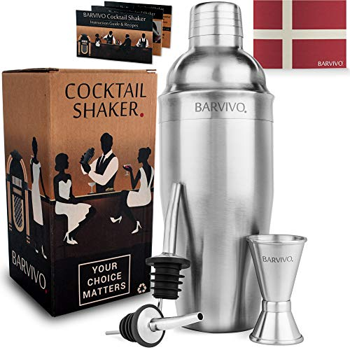 Professional Cocktail Shaker Set w/a Double Jigger & 2 Liquor Pourers by BARVIVO - 24oz Martini Mixer Made of Brushed Stainless Steel Perfect for Mixing...