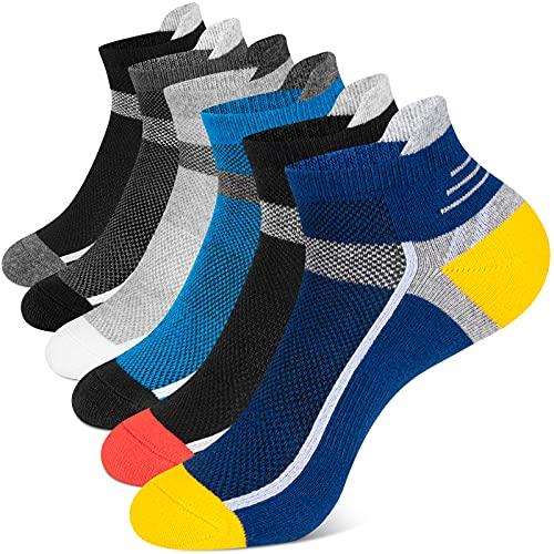 Onmaita Calcetines Tobilleros Hombre y Mujer, 6 Pares Calcetines Cortos de Algodón,Calcetines Deporte para Running Fitness Trabajo,37-42