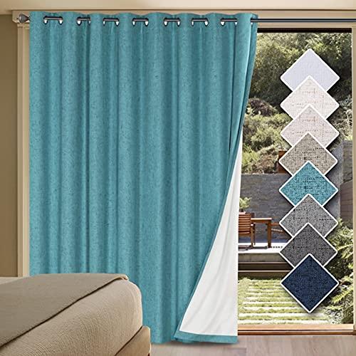 H.VERSAILTEX 100% Blackout Drapes for Sliding Glass Door- Waterproof Faux Linen...
