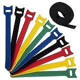 Dapzon 100 Stück Klett Kabelbinder, 5 Bunt Wiederverwendbare Kabel Klettband mit Nylon...
