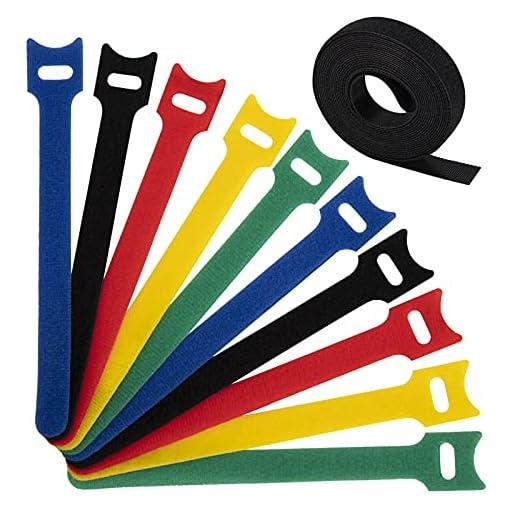 Dapzon 5 colores Bridas Reutilizables, 100 Piezas Ataduras Cables con 3m Nylon Gancho y Lazo Cable Corbatas, Ajustable… 1