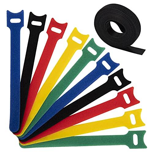 Dapzon 100 Pezzi Fascette Cavi, Riutilizzabili Nylon Fascette Fermacavi con Hook e Loop, Regolabili Cinturino per ufficio Domestico Organizzatore 150 mm x 12 mm- 5 Colori