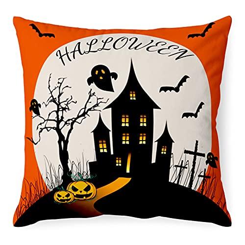 """Funda de cojín para Halloween, con texto """"Happy Halloween, vintage, decoración de Halloween, calabaza, farol, cráneo, fantasma, funda de cojín, para sofá, dormitorio o sala de estar, 18 x 18 pulgadas"""