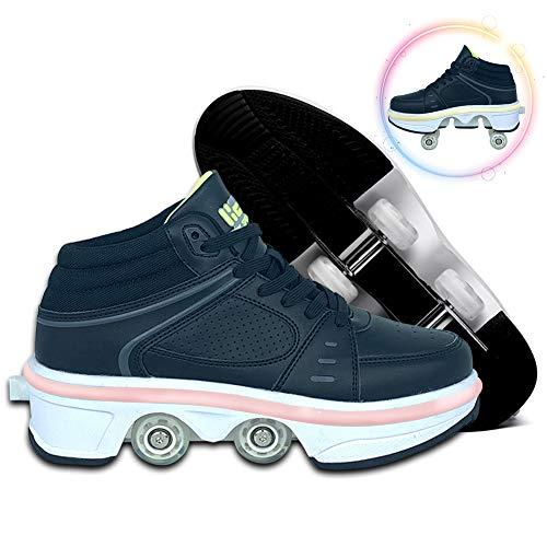Invisible Zapatos con Ruedas, LED Deform Wheels Patines Zapatos con Ruedas Zapatillas Informales, Patines para Caminar Hombres Mujeres Patines De Cuatro Ruedas,White