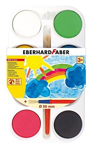 Eberhard Faber 577108 - Farbkasten mit 8 Farbtabletten, Durchmesser 55 mm