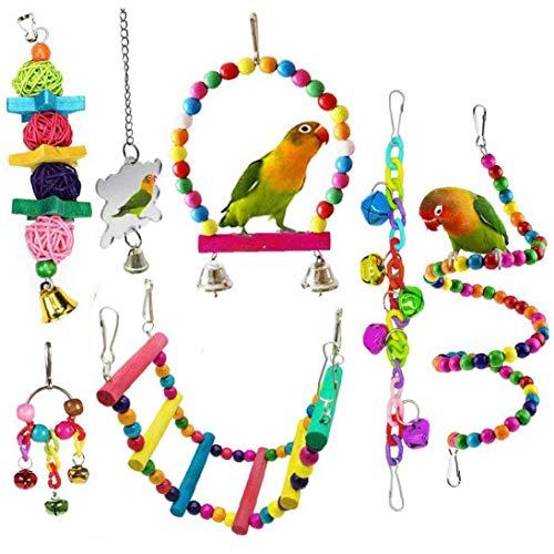 Pájaro Del Loro Juguetes, Colgantes De Bell Mascotas Jaula De Pájaros Hamaca Columpio Subir Escaleras Juguete De Madera Perca Espejo La Masticación De Juguetes Para Cotorras, Pájaros Del Amor,