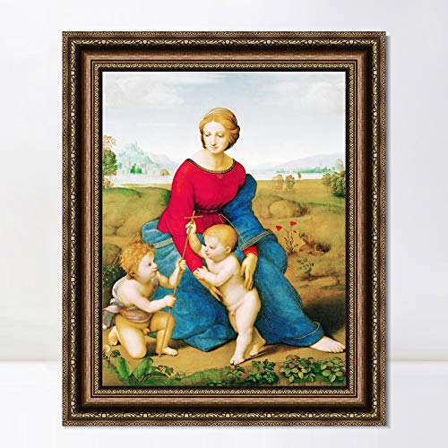 """INVIN ART Framed Canvas Art Giclee Print Madonna in The Meadow by Raphael/Raffaello Sanzio Wall Art Living Room Home Office Decorations(Vintage Embossed Gold Frame,20""""x24"""")"""