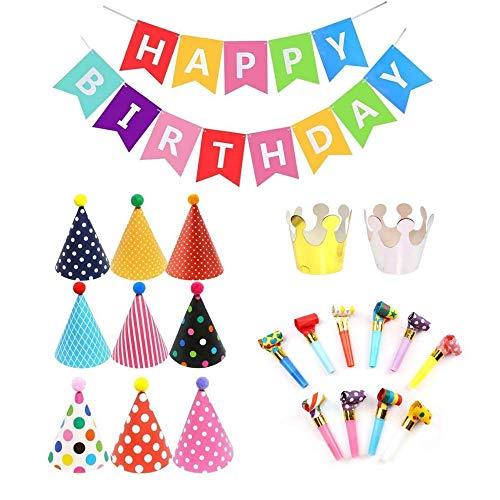 Geburtstagsfeier Dekorationen 23 pcs, Happy Birthday Spruchband,Partyhüte Geburtstag Dekoration Set Partyzubehör