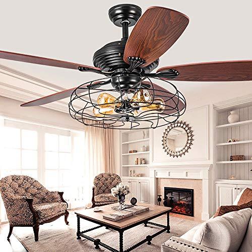 Luz de techo de grano de madera con ventilador Ventilador de techo de cristal Luz LED Ventilador industrial Candelabro Cadena de tracción Ventilador de techo con jaula de hierro de velocidad,48inch