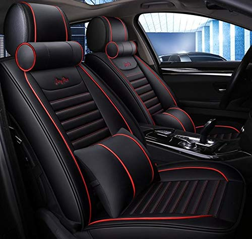 KVD Butter Leather Luxury Car Seat Cover for Hyundai i20 Active Black + RED Free Pillows and Neck Rest Set (with 5 Years Warranty) (HT1) - DZ014/15