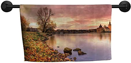 ZSUO Absorbing Towel W 39 x L 10(inch) Children's Towel,Apartment Decor,Bohemian Old Town Scenery by The River with Gothic Buildings in The Fall Sunset Sky,Pink Orange
