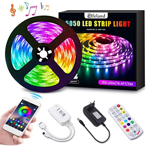 LED Streifen 5M LED Strip RGB 5050SMD 150 Led Bänder, LED Stripes steuerbar via App bluetooth, LED Band Sync mit Musik, Lichtband Hintergrundbeleuchtung Full Kit mit Fernbedienung Beleuchtung Elfeland