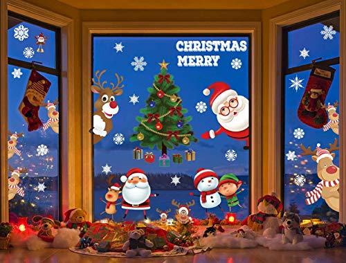 Heekpek 3 Sätze Fensterbilder Weihnachten Fensterbilder Winter Wiederverwendbar Schneeflocken Fensteraufkleber Statisch Selbstklebend Wand Aufkleber Spähen des Elche Süße Weihnachtsmann Türaufkleber